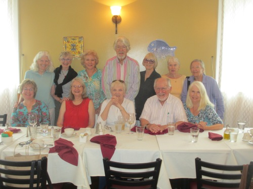 Goodbye party for Karen, back row: Nan, Pat, Carol, Norm, Gwen, Margaret, Jane. Front row: Jen, Karen, Julie, Gordy, Evelyn.